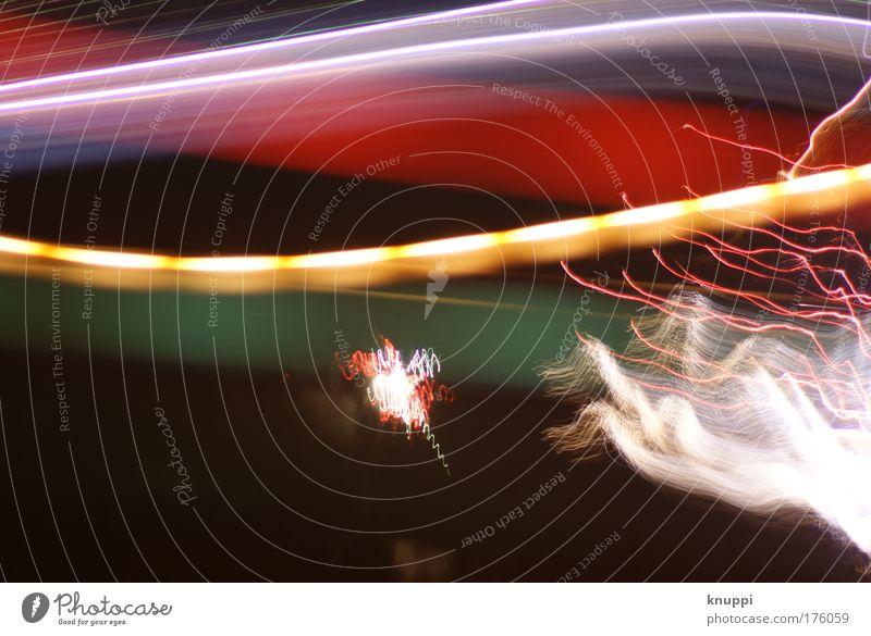 Buntes Durcheinander blau grün weiß rot schwarz hell braun Linie außergewöhnlich leuchten Streifen Lichtspiel Geschwindigkeit Leuchtspur Lichtstreifen lichtvoll