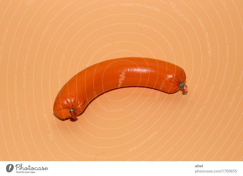FleischWurst (orange) Lebensmittel Wurstwaren Ernährung Frühstück Abendessen Verpackung Kunststoff ästhetisch authentisch bedrohlich Billig gut lecker