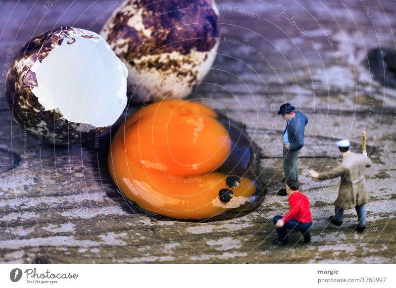 Miniwelten - Ei Ungeheuer Frühstück Bioprodukte Vegetarische Ernährung Mensch maskulin Mann Erwachsene 3 braun gelb orange Querformat Eigelb Protein drohen