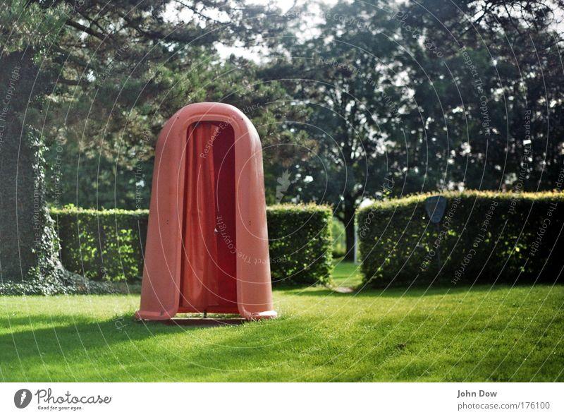Freibadidyll Baum Sommer Ferien & Urlaub & Reisen ruhig Gras retro Schwimmbad Sträucher Freizeit & Hobby Sauberkeit Idylle Kunststoff Wiese Camping Vorhang