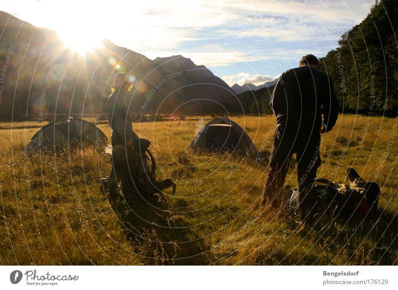 Neuseeland - Trail Mensch Sommer Ferien & Urlaub & Reisen Einsamkeit Ferne Erholung Wiese Berge u. Gebirge Freiheit wandern Ausflug Abenteuer Tourismus Schuhe