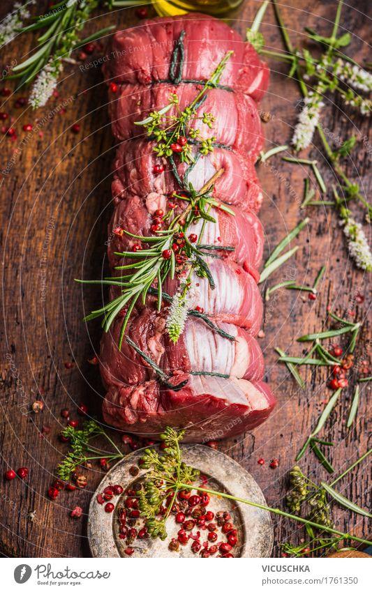 Roastbeef mit Kräutern und Gewürzen Lebensmittel Fleisch Kräuter & Gewürze Ernährung Festessen Bioprodukte Stil Design Tisch Rostbraten Rinderbraten