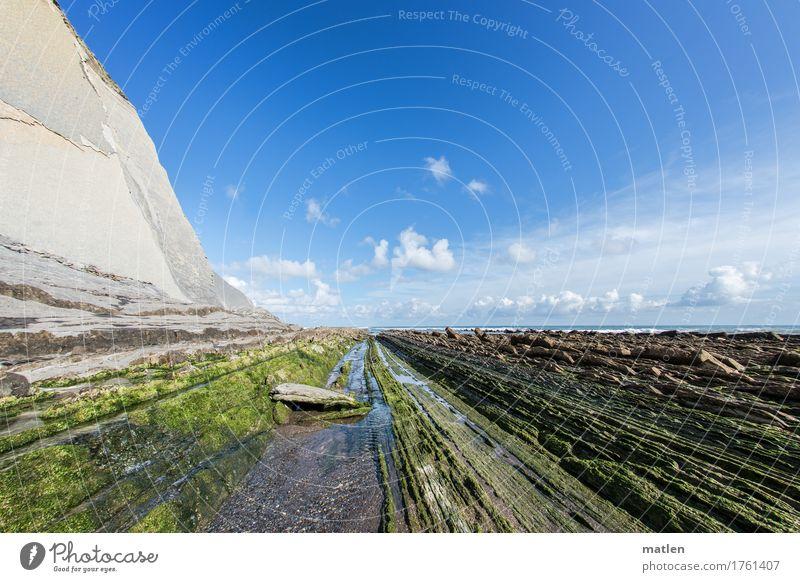 Flysch Natur Landschaft Luft Wasser Himmel Wolken Horizont Sommer Wetter Schönes Wetter Felsen Küste Strand Riff Meer blau grün weiß Baskenland Algen Ebbe