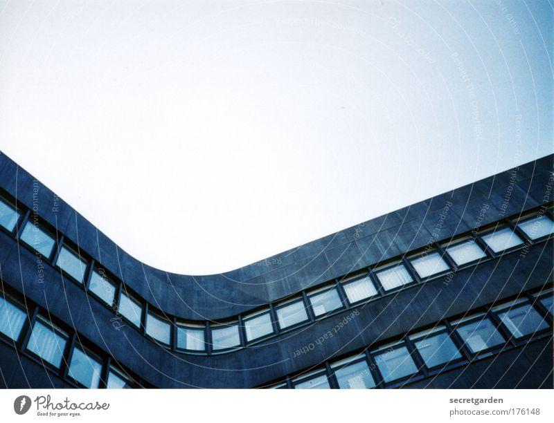 sexy kurven blau Arbeit & Erwerbstätigkeit ruhig Haus Architektur grau Stil Bürogebäude Linie elegant Fassade Design Hochhaus ästhetisch Perspektive