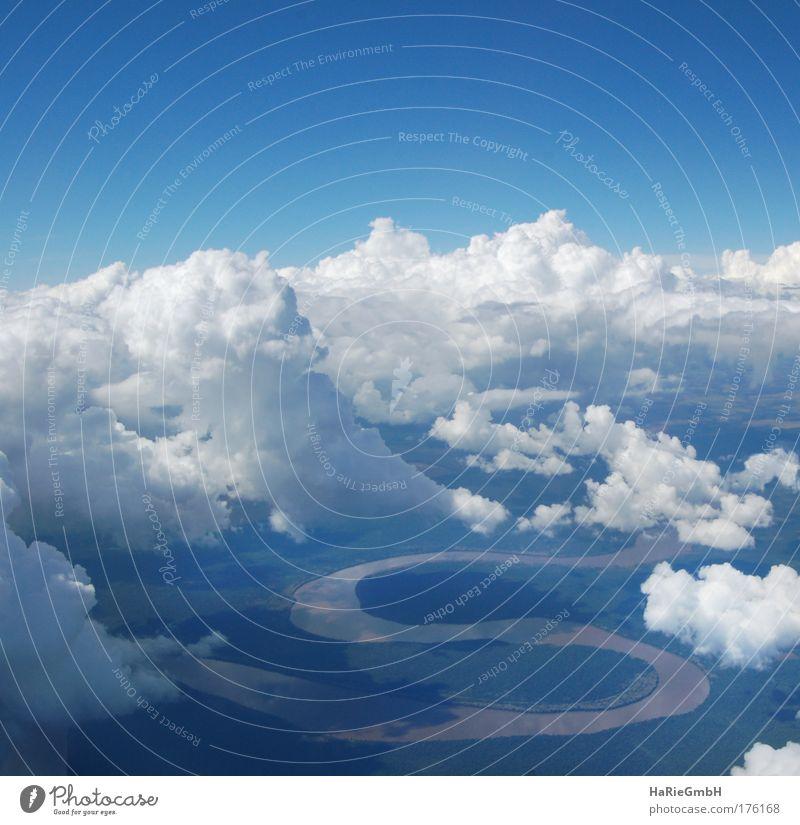 Rio Iguacu Farbfoto Luftaufnahme Menschenleer Licht Schatten Vogelperspektive Natur Landschaft Wasser Himmel Wolken Flussufer Zeichen Schriftzeichen S-Form