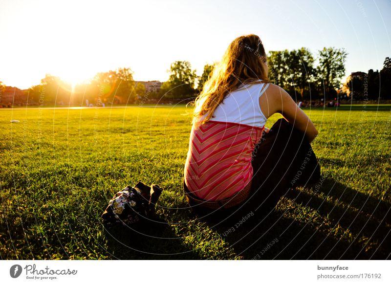 Ich hab nachgedacht: ... Farbfoto Außenaufnahme Abend Zentralperspektive Rückansicht feminin Junge Frau Jugendliche 1 Mensch 18-30 Jahre Erwachsene Wiese hocken