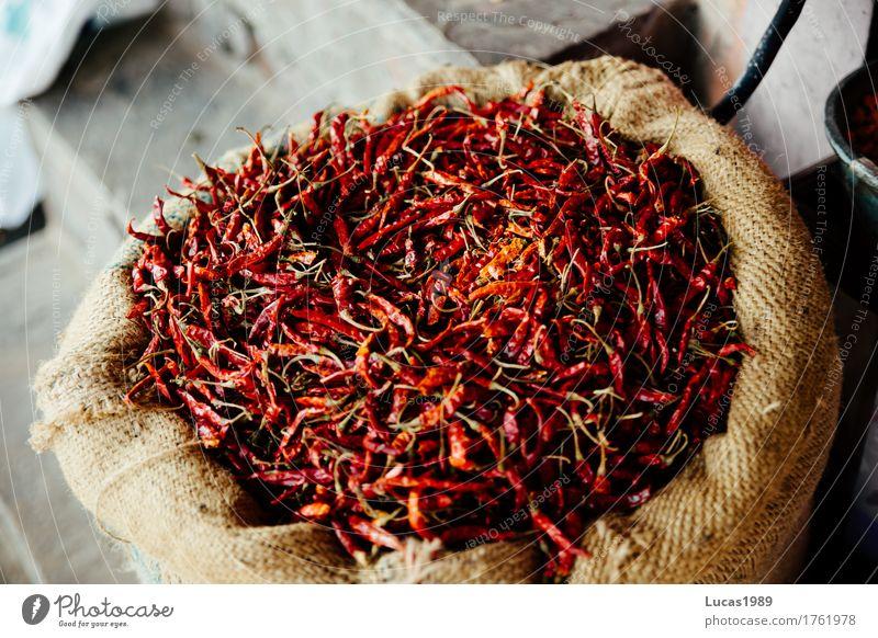 Hot Chili Lebensmittel Kräuter & Gewürze Ernährung Essen Asiatische Küche Scharfer Geschmack Geschmackssinn heiß Peperoni Indien Sack trocken rot getrocknet