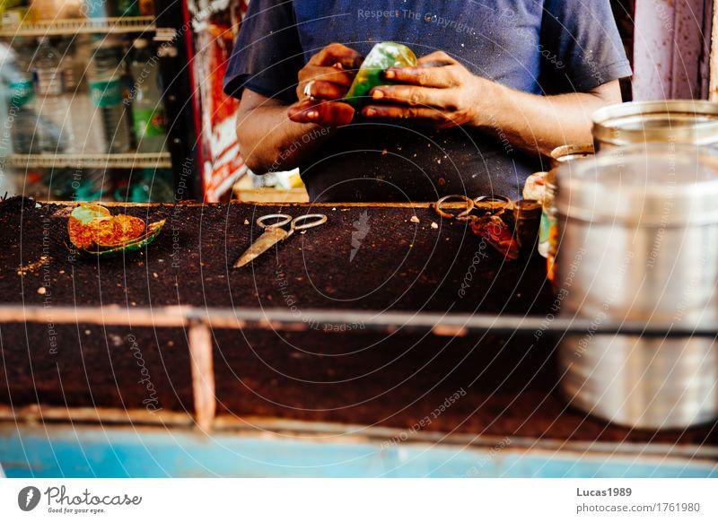 Streetfood India Mensch Ferien & Urlaub & Reisen Mann Stadt Blatt Ferne Erwachsene Straße Essen Lebensmittel Tourismus maskulin Ernährung Ausflug beobachten