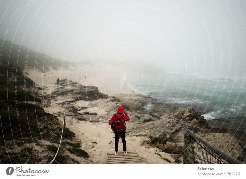 into the white Mensch Natur Ferien & Urlaub & Reisen Meer Ferne Strand Umwelt Küste Nebel wandern Ausflug Klima Abenteuer entdecken Fernweh Unwetter