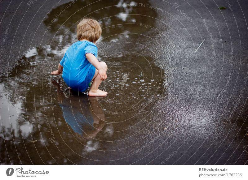 Kind spielt in einer Pfütze Mensch Sommer Wasser Freude Straße Herbst kalt natürlich Junge klein Spielen Freiheit Zufriedenheit Freizeit & Hobby Regen