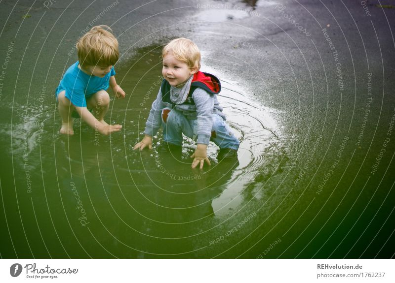 Pfützenspaß Mensch Kind Sommer grün Wasser Freude Straße Junge Spielen klein Glück außergewöhnlich Zusammensein Freundschaft Regen maskulin