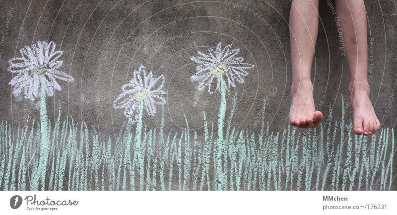 Ferien! Blume Sommer Ferien & Urlaub & Reisen Erholung Wiese Wand Freiheit Fuß Beton Freizeit & Hobby Kindheit Mensch Blühend Balkon Kreide Trick