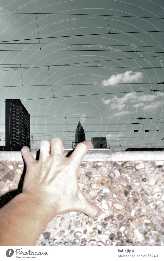 börsen-kurs-klettern Mensch Himmel Stadt Hand Wolken Arme Haut Freizeit & Hobby maskulin Beton Finger Netzwerk Klettern Bankgebäude Skyline Wirtschaft
