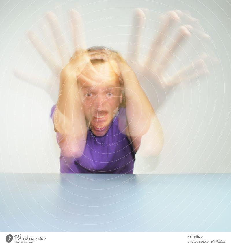 oh no Mensch Mann Hand Erwachsene Gesicht Auge Haare & Frisuren Kopf Angst Arme Haut Mund maskulin Nase gefährlich Finger