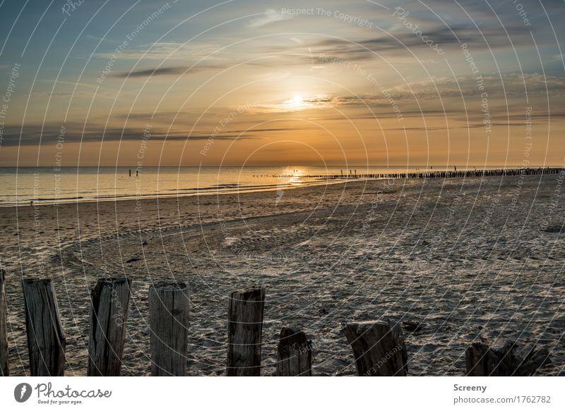 Sandig mit Sonnenuntergang Natur Landschaft Wasser Himmel Wolken Horizont Sonnenaufgang Sonnenlicht Sommer Wetter Schönes Wetter Küste Strand Nordsee Meer