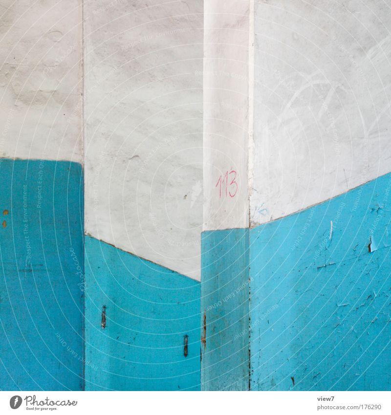 Die Welle, die dich trägt. schön alt blau Haus Wand Stein Mauer Raum Wellen dreckig verrückt Fassade ästhetisch authentisch Streifen