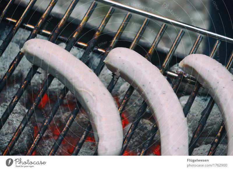 Büschen blass, nech... Gesunde Ernährung Essen Lebensmittel heiß Grillen Fleisch Wurstwaren glühen Essen zubereiten Bratwurst Grillrost Kohle Würstchen