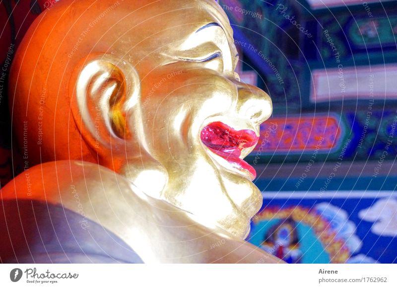 Glück Kopf Skulptur Religion & Glaube lachen Fröhlichkeit lustig gold rot Lebensfreude Weisheit Ideologie Statue heilig Asien Buddhismus Buddha Statue Farbfoto