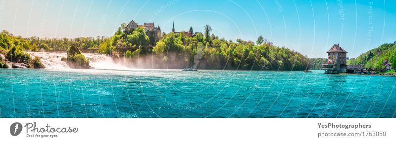 Der Rhein fällt an einem sonnigen Tag Natur Ferien & Urlaub & Reisen Sommer grün schön Baum Landschaft Erholung Freude Tourismus Wasserfahrzeug Europa