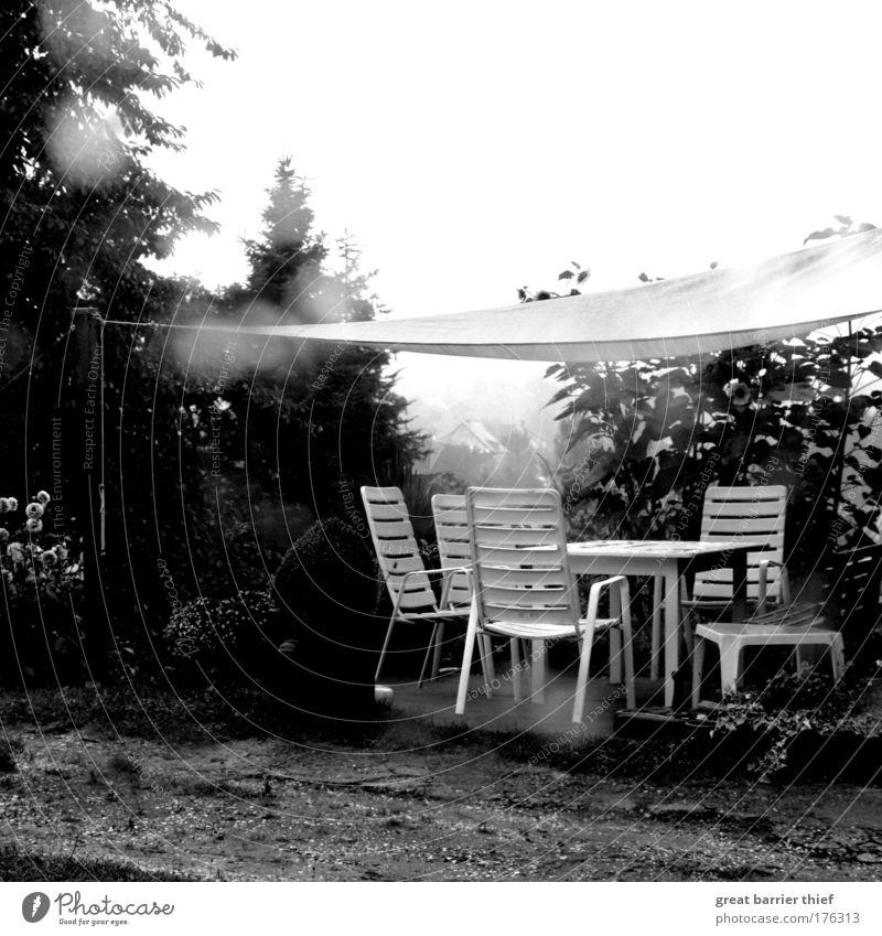 Geisterparty Natur weiß Einsamkeit dunkel schwarz grau Garten Regen Idylle Ernährung nass bedrohlich Baustelle Stuhl gruselig Terrasse