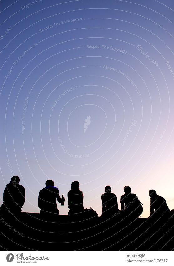 Keeping the Moment. Himmel Jugendliche Freude Erholung Leben Freiheit Menschengruppe Freundschaft Stimmung Zeit Feste & Feiern Freizeit & Hobby sitzen Abenteuer