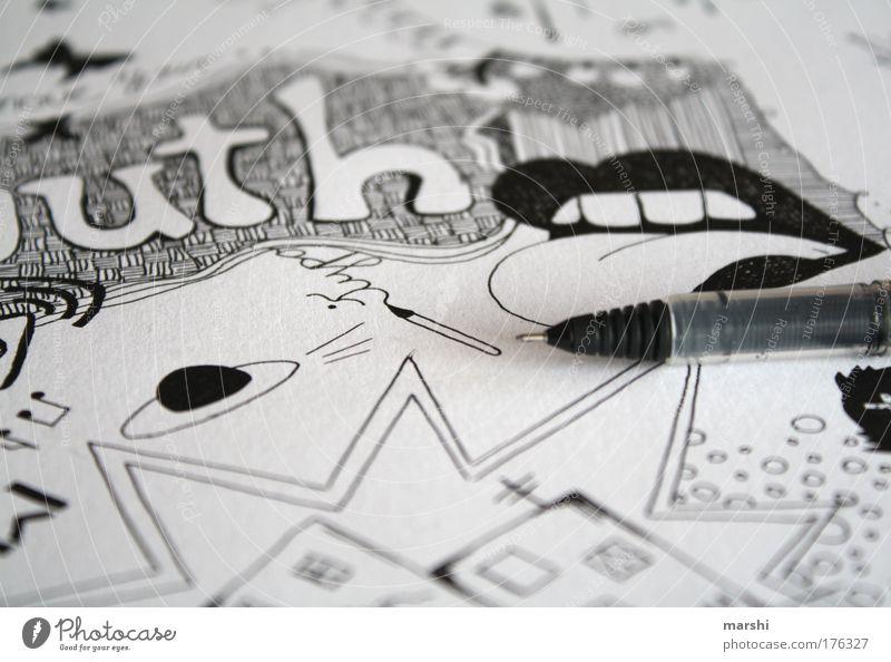 Mouth weiß Freude schwarz dunkel Stil Stimmung Linie hell Kunst Mund Freizeit & Hobby Schriftzeichen Coolness Bild Grafik u. Illustration Zeichen