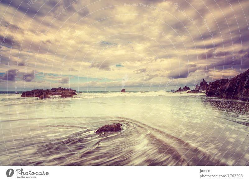 Yellow Sky Ferien & Urlaub & Reisen Sommer Strand Meer Insel Wellen Wasser Himmel Wolken Horizont Felsen Küste schön wild Farbfoto Gedeckte Farben Außenaufnahme