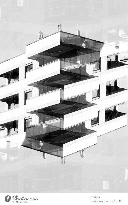 Blockhaus Stil Design Haus Bauwerk Gebäude Architektur Fassade Balkon Fenster Beton außergewöhnlich eckig modern Ordnung Perspektive Präzision Surrealismus