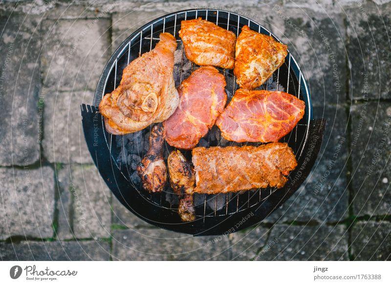 Frischfleisch #2 Fleisch Geflügel Steak Grill grillen Grillsaison Grillrost Essen frisch heiß lecker saftig orange schwarz Appetit & Hunger Farbfoto