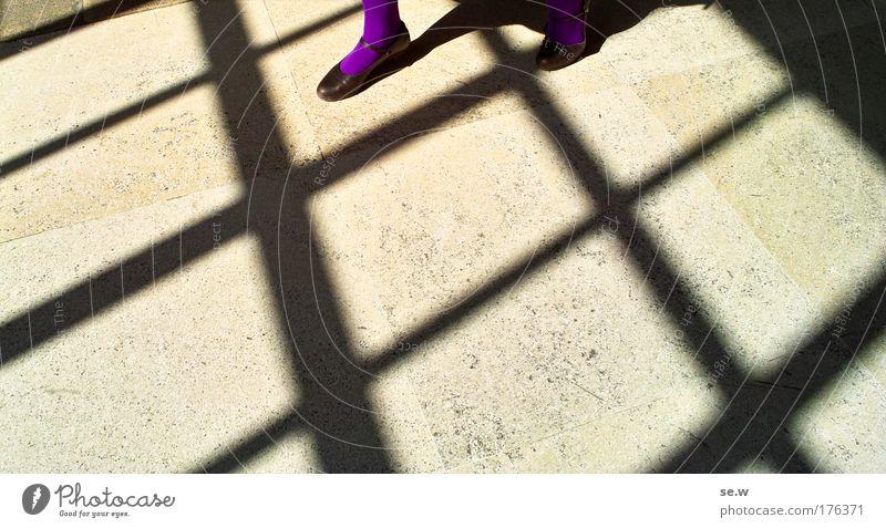 Walking on sunshine Mensch schwarz gelb feminin Freiheit Fuß Schuhe Linie Stimmung gehen elegant Perspektive ästhetisch violett Strumpfhose