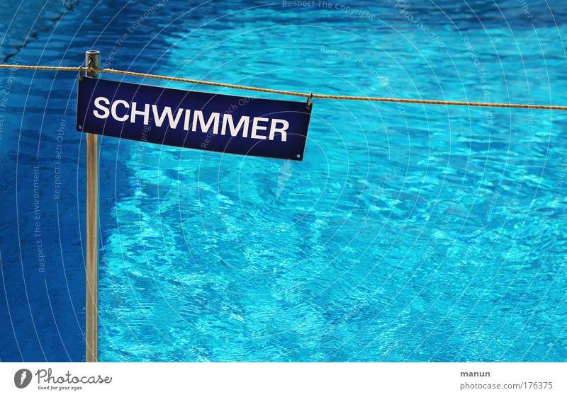 Schwimmer blau Wasser Ferien & Urlaub & Reisen Sonne Sommer Sport Metall Schwimmen & Baden nass Schilder & Markierungen gefährlich Schriftzeichen Hinweisschild Sicherheit bedrohlich Schwimmbad