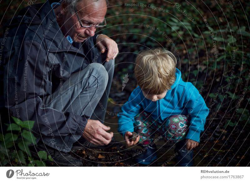 bester opa   im bach Mensch Kind Natur Mann alt Wasser Freude Wald Erwachsene Umwelt Senior Junge klein Glück maskulin Zufriedenheit