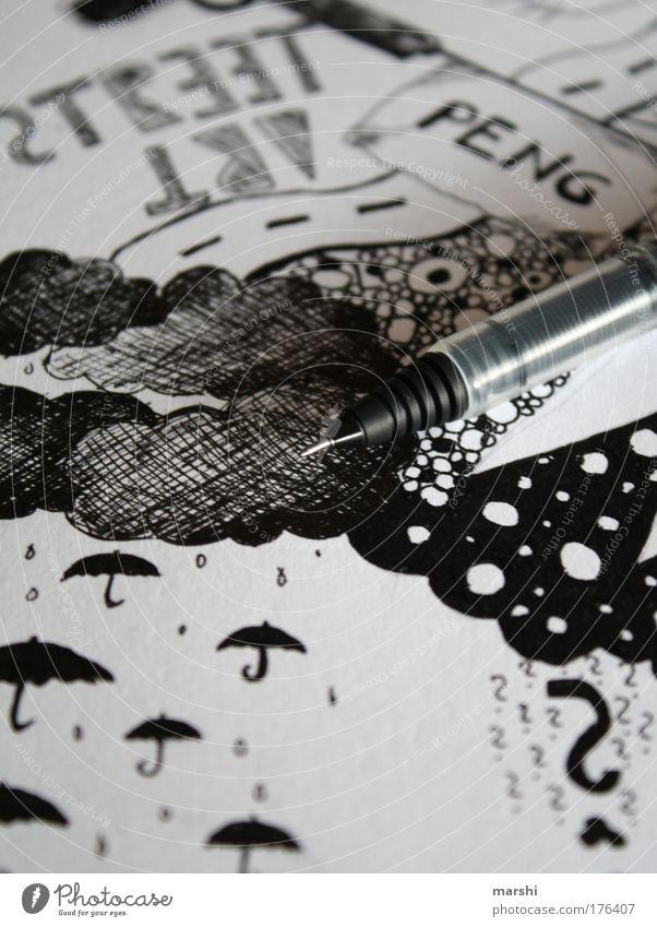 what a rainy day... weiß Freude schwarz Wolken Stil Regen Kunst Design Schutz Coolness Freizeit & Hobby Dekoration & Verzierung Regenschirm Medien Schreibstift zeichnen