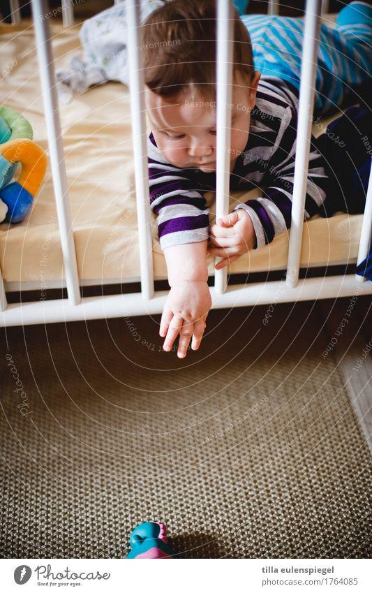 Verflixt Freizeit & Hobby Spielen Kind Baby Kleinkind Kindheit 1 Mensch 0-12 Monate liegen Leidenschaft verlieren verloren Ferne unerreichbar Verzweiflung