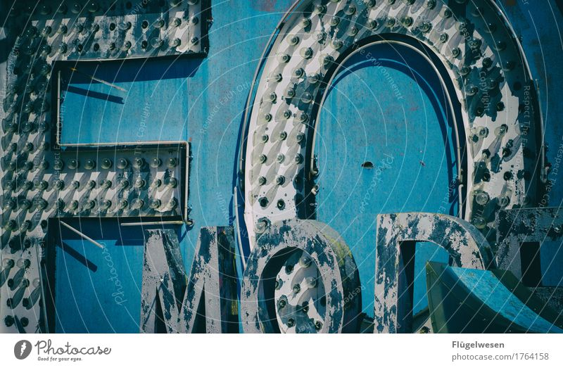 FO Lampe Werbebranche Schriftzeichen alt Beleuchtung leuchten Farbe Farbstoff Werbung Neonlicht Leuchtreklame Buchstaben Leuchtbuchstabe Werbeschild werben