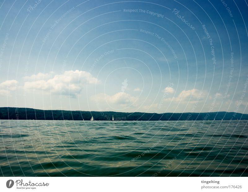 dunkelblau Farbfoto Außenaufnahme Textfreiraum oben Textfreiraum unten Tag Segeln Natur Landschaft Wasser Himmel Wolken Horizont Berge u. Gebirge See Bodensee