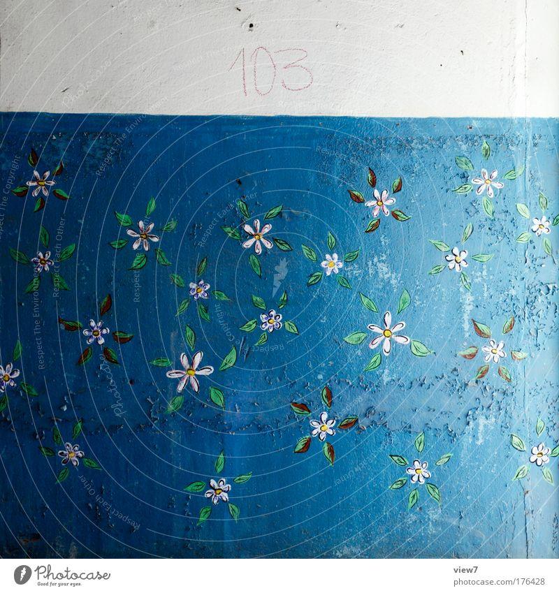 103 - florales Muster schön alt blau Erholung Stein Stimmung Raum Zeit ästhetisch Romantik authentisch Dekoration & Verzierung gut Vergänglichkeit Streifen