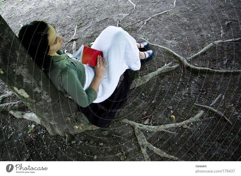 gartenlektüre Frau Mensch Jugendliche Baum rot ruhig Einsamkeit Erholung feminin Denken Buch Erwachsene Erde schlafen sitzen lesen