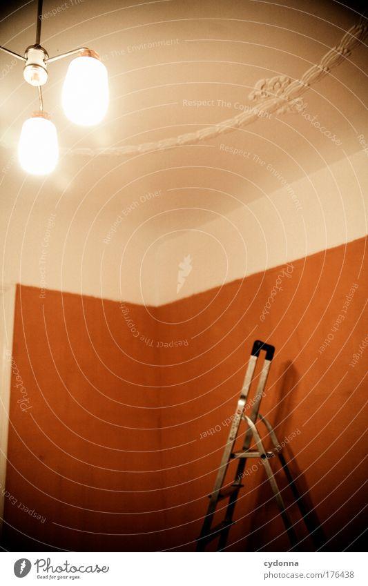 Neue Heimat Farbe Lampe Leben Wand Gefühle Freiheit träumen Traurigkeit Mauer orange Architektur Wohnung Design ästhetisch retro Zukunft