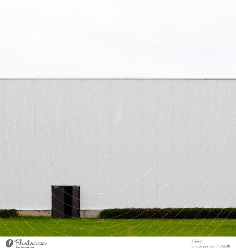 Hintertüre grün Wand Gras Stein Mauer Gebäude Linie Metall Tür Design groß modern Ordnung ästhetisch Wachstum