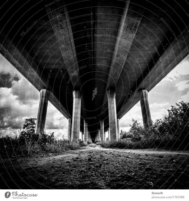 Geerdet Menschenleer Brücke Bauwerk Architektur Wege & Pfade Autobahn grau schwarz weiß Säule Beton Linie Wolken Sträucher Sand Himmel Schwarzweißfoto