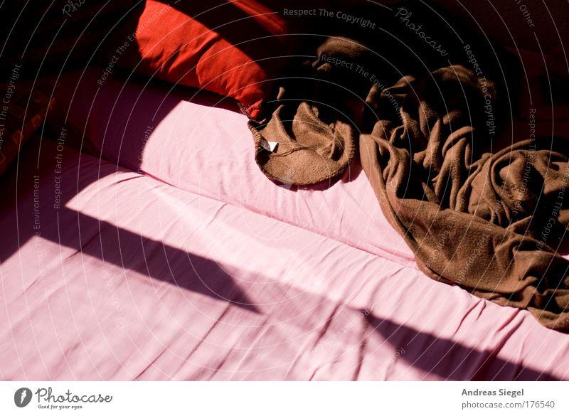 Guten Morgen rot ruhig Farbe Leben Erholung Wärme Linie braun Wohnung rosa Beginn schlafen ästhetisch Bett authentisch Häusliches Leben