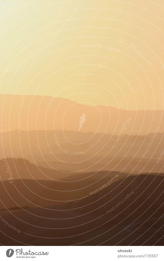 Toskanisches Abendrot Farbfoto Außenaufnahme Menschenleer Textfreiraum oben Dämmerung Licht Schatten Kontrast Silhouette Sonnenlicht Sonnenaufgang