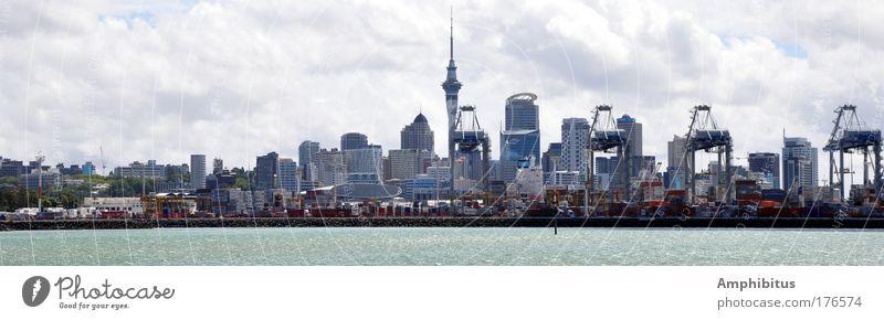Auckland Seaside Farbfoto Außenaufnahme Tag Panorama (Aussicht) Neuseeland Hafenstadt Skyline Hochhaus Häusliches Leben blau groß Panorama (Bildformat)