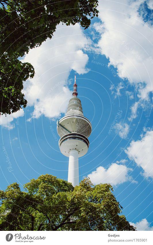 Aufsicht Heinrich Hertz Turm Architektur Natur Tier Himmel Wolken Sommer Baum Hamburg Deutschland Hauptstadt Stadtzentrum Skyline Menschenleer Bauwerk Fenster