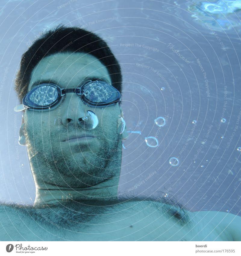 uMann Mensch blau schön Sommer Freude Gesicht Erwachsene Leben Sport Freizeit & Hobby Schwimmen & Baden maskulin beobachten Schwimmbad tauchen