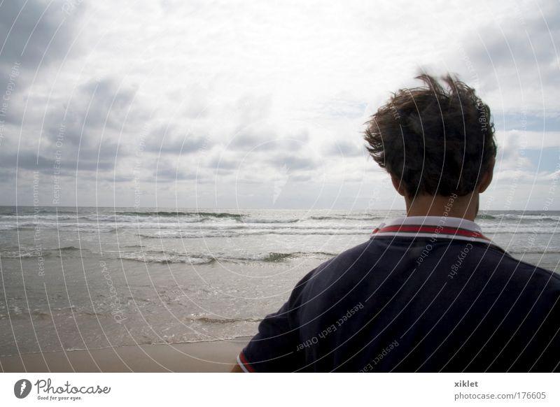Mensch Natur schön Freude Strand Sand Kopf Wind Wellen gehen laufen natürlich maskulin frei Abenteuer beobachten