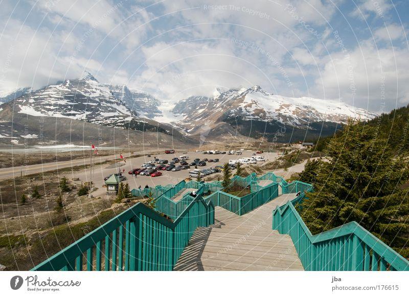 Icefield Center Himmel Ferien & Urlaub & Reisen Sommer Sonne Wolken Ferne Berge u. Gebirge Straße Holz Luft Treppe PKW Tourismus warten Pause Personenverkehr
