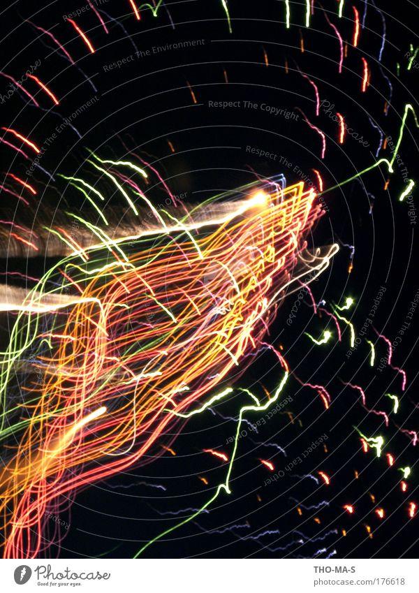 In Farbe und bunt schön Freude schwarz Feste & Feiern Linie träumen Stimmung Kunst Luft leuchten Lebensfreude Silvester u. Neujahr Veranstaltung Rauch skurril