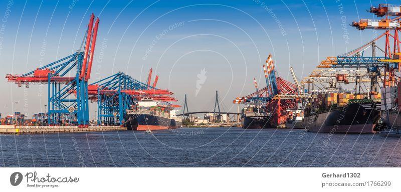 Panorama Containerhafen Hamburg und Köhlbrandbrücke Tourismus Arbeit & Erwerbstätigkeit Verkehr Brücke Hamburg Güterverkehr & Logistik Hafen Skyline Panorama (Bildformat) Wirtschaft Schifffahrt Verkehrswege Abenddämmerung Hafenstadt Globalisierung Containerschiff
